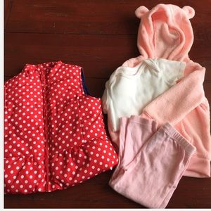 Baby girl sz 24 month bundle vest and fleece set